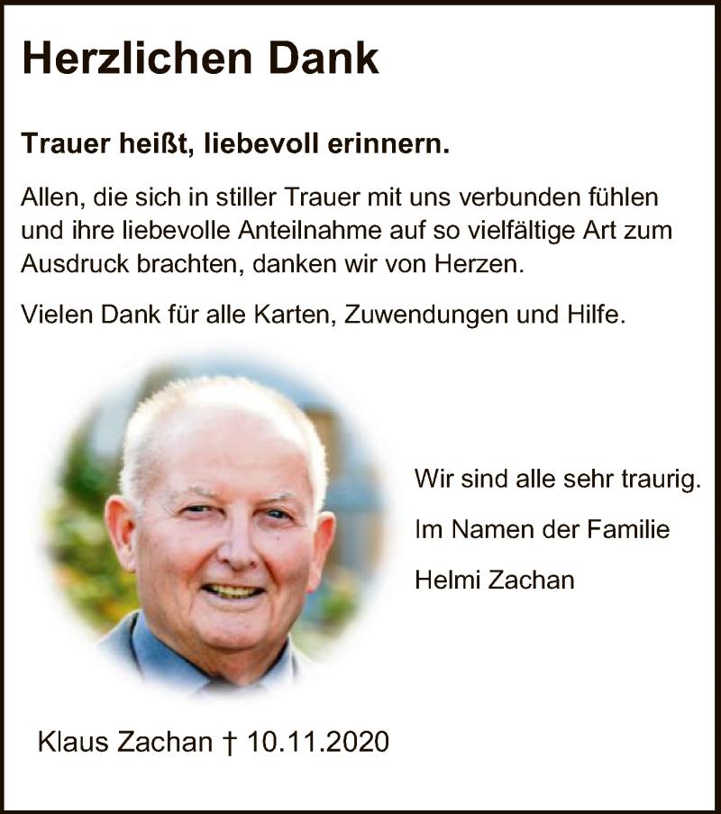 Traueranzeige für Klaus Zachan vom 12.12.2020 aus HNA