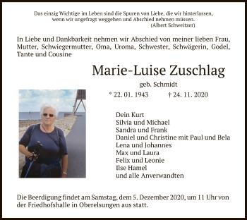 Traueranzeige von Marie-Luise Zuschlag von HNA