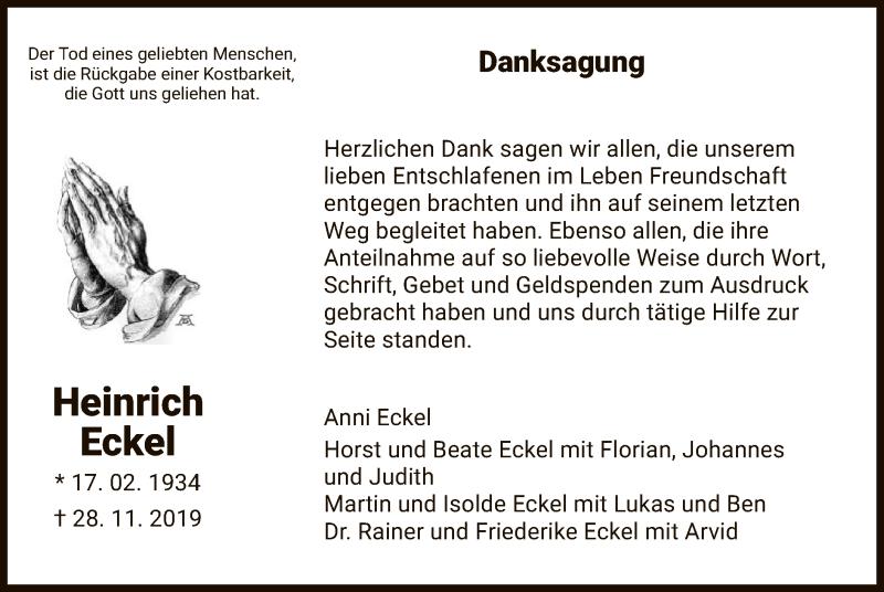 Traueranzeige für Heinrich Eckel vom 22.02.2020 aus HNA
