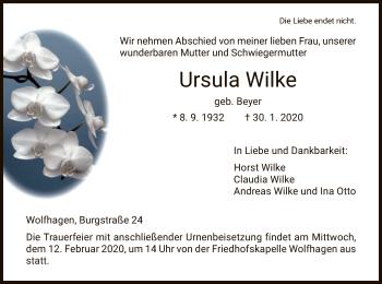 Traueranzeige von Ursula Wilke von HNA