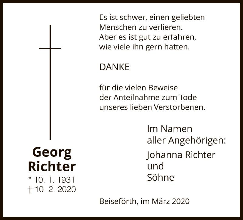 Traueranzeige für Georg Richter vom 07.03.2020 aus HNA