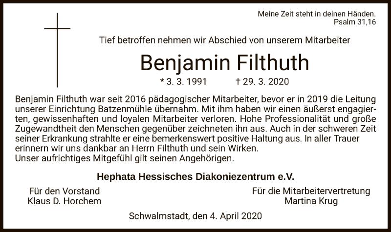 Traueranzeige für Benjamin Filthuth vom 04.04.2020 aus HNA