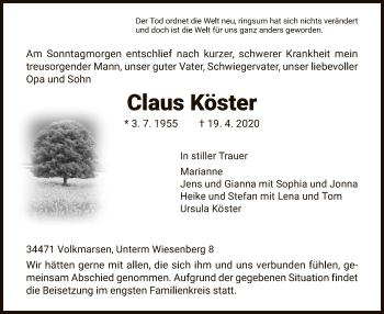 Traueranzeige von Claus Köster von HNA