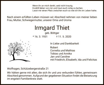 Traueranzeige von Irmgard Thiet von HNA