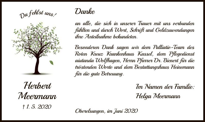 Traueranzeige für Herbert Meermann vom 06.06.2020 aus HNA