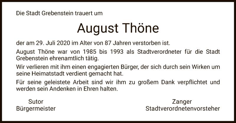 Traueranzeige für August Thöne vom 04.08.2020 aus HNA