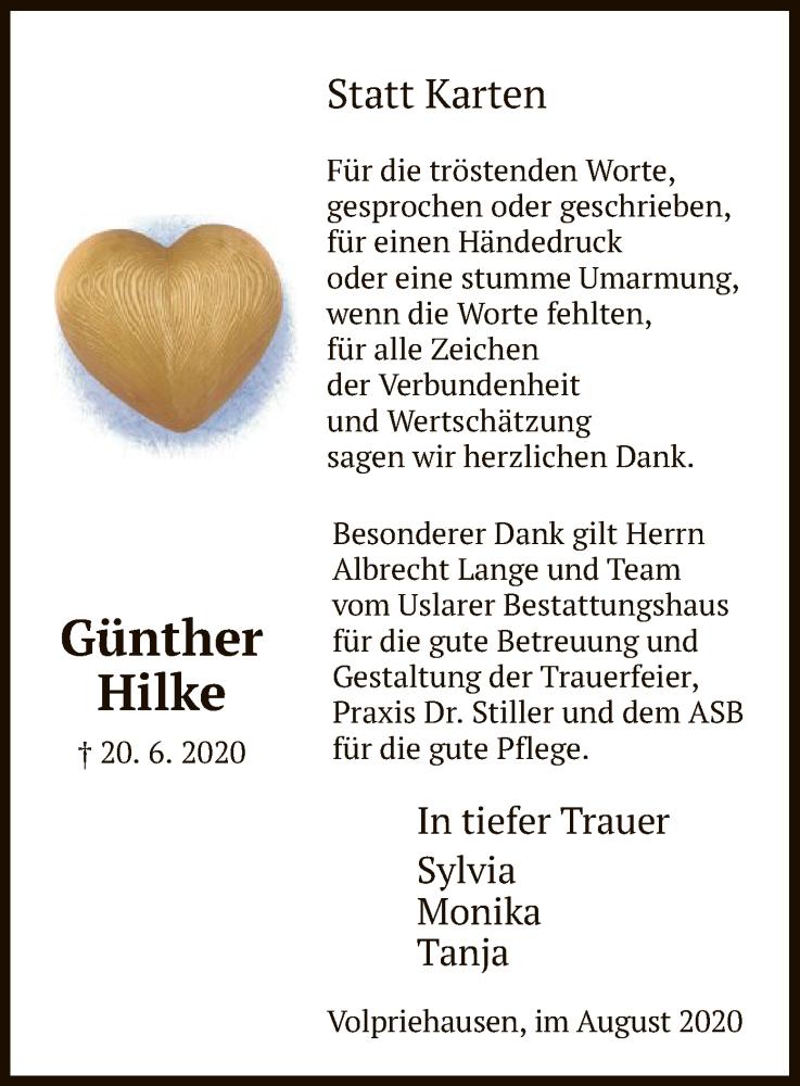 Traueranzeige für Günther Hilke vom 01.08.2020 aus HNA