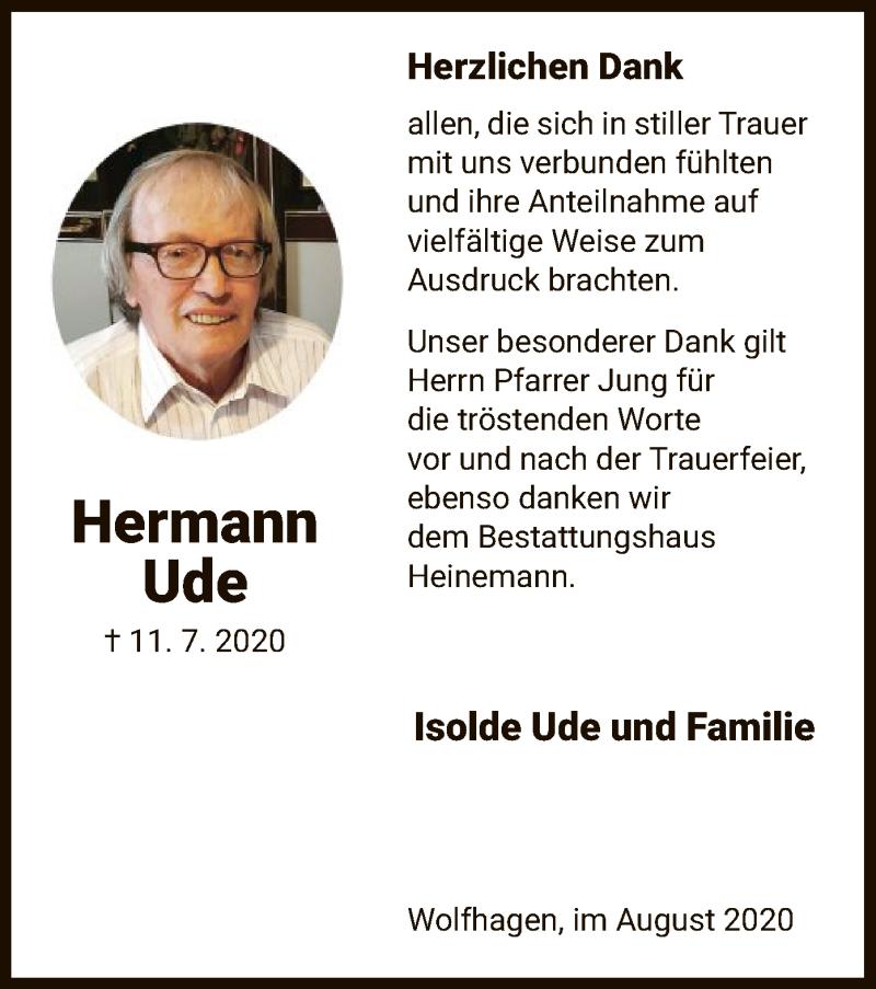 Traueranzeige für Hermann Ude vom 08.08.2020 aus HNA