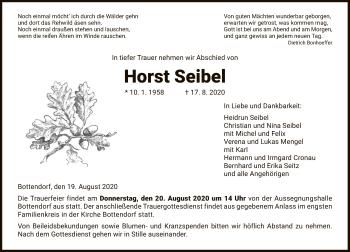 Traueranzeige von Horst Seibel von HNA