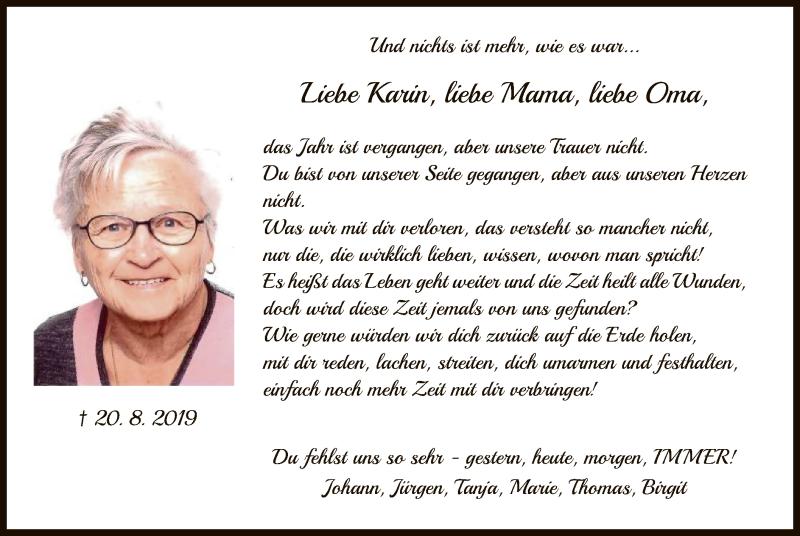 Traueranzeige für Karin Börstler vom 20.08.2020 aus HNA