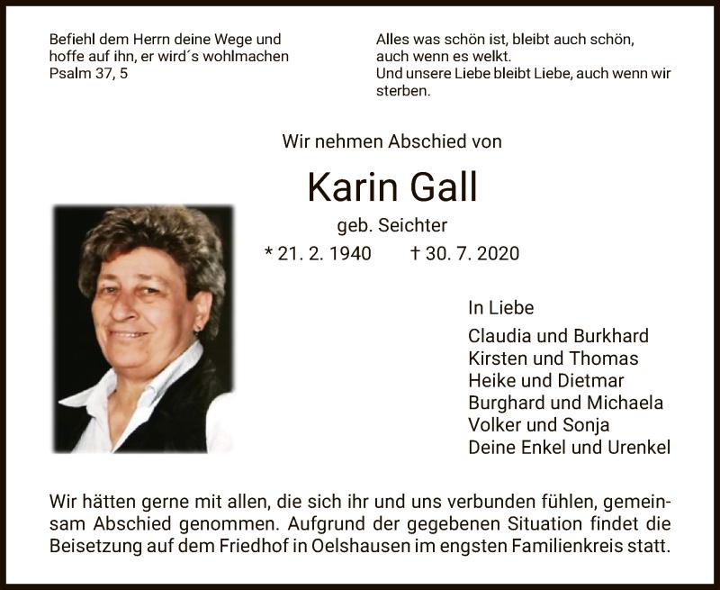 Traueranzeige für Karin Gall vom 04.08.2020 aus HNA
