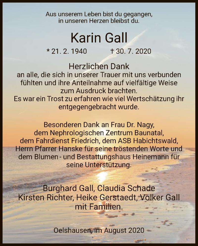 Traueranzeige für Karin Gall vom 22.08.2020 aus HNA