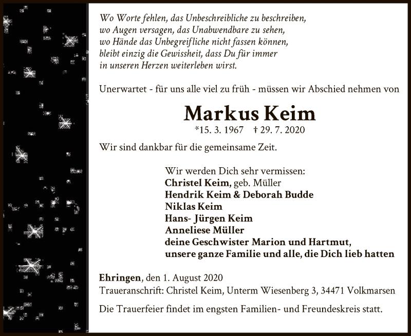 Traueranzeige für Markus Keim vom 01.08.2020 aus WLZ