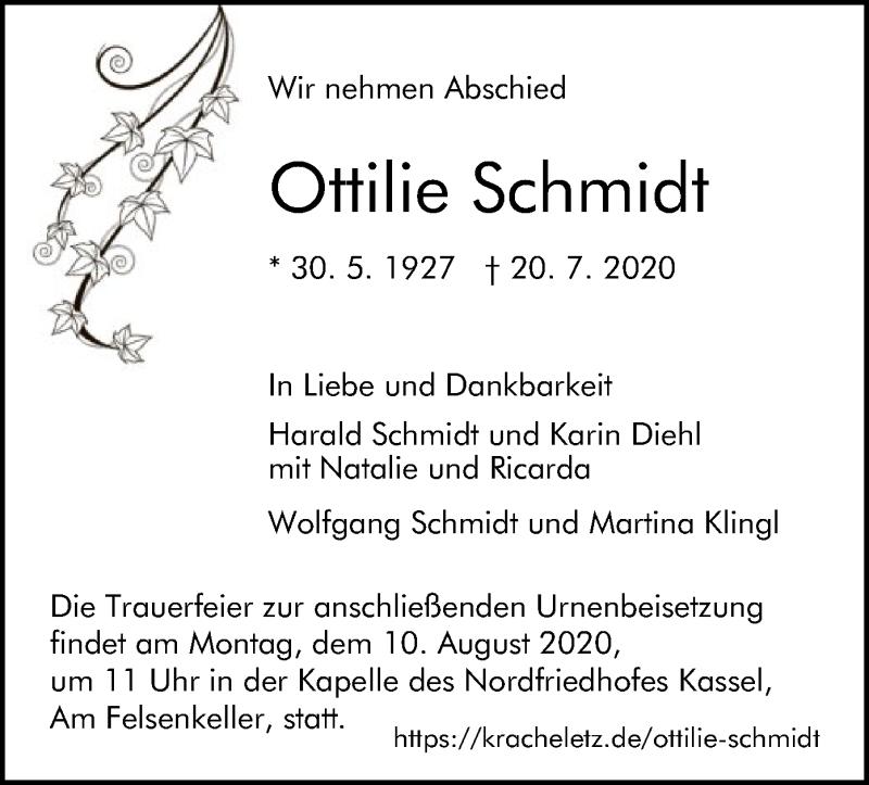 Traueranzeige für Ottilie Schmidt vom 01.08.2020 aus HNA