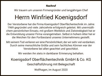 Traueranzeige von Winfried Koenigsdorf von HNA
