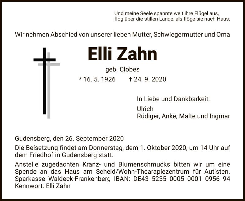 Todesanzeige von  Elli Zahn