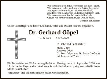 Traueranzeige von Gerhard Göpel von HNA