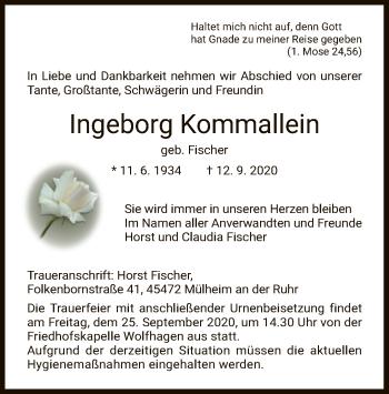Traueranzeige von Ingeborg Kommallein von HNA