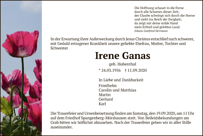 Traueranzeige für Irene Ganas vom 16.09.2020 aus HNA