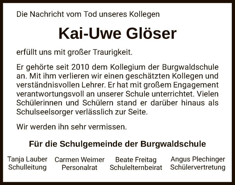 Traueranzeige für Kai-Uwe Glöser vom 16.09.2020 aus HNA
