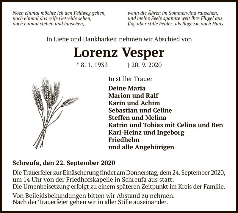 Traueranzeige für Lorenz Vesper vom 22.09.2020 aus HNA