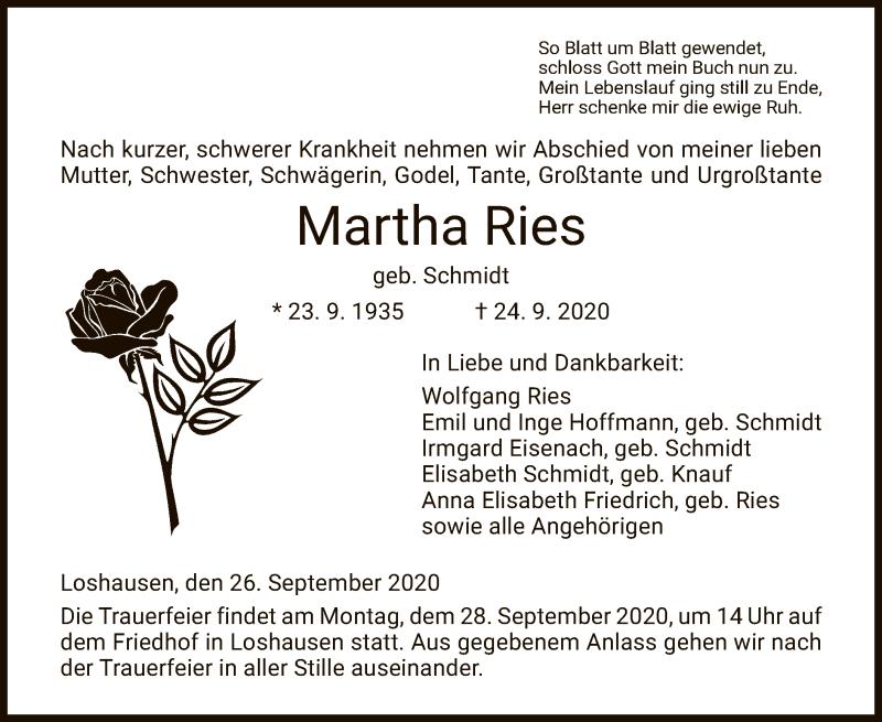 Todesanzeige von  Martha Ries