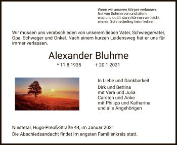 Traueranzeige von Alexander Bluhme von HNA