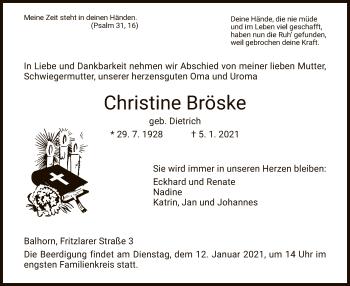 Traueranzeige von Christine Bröske von HNA