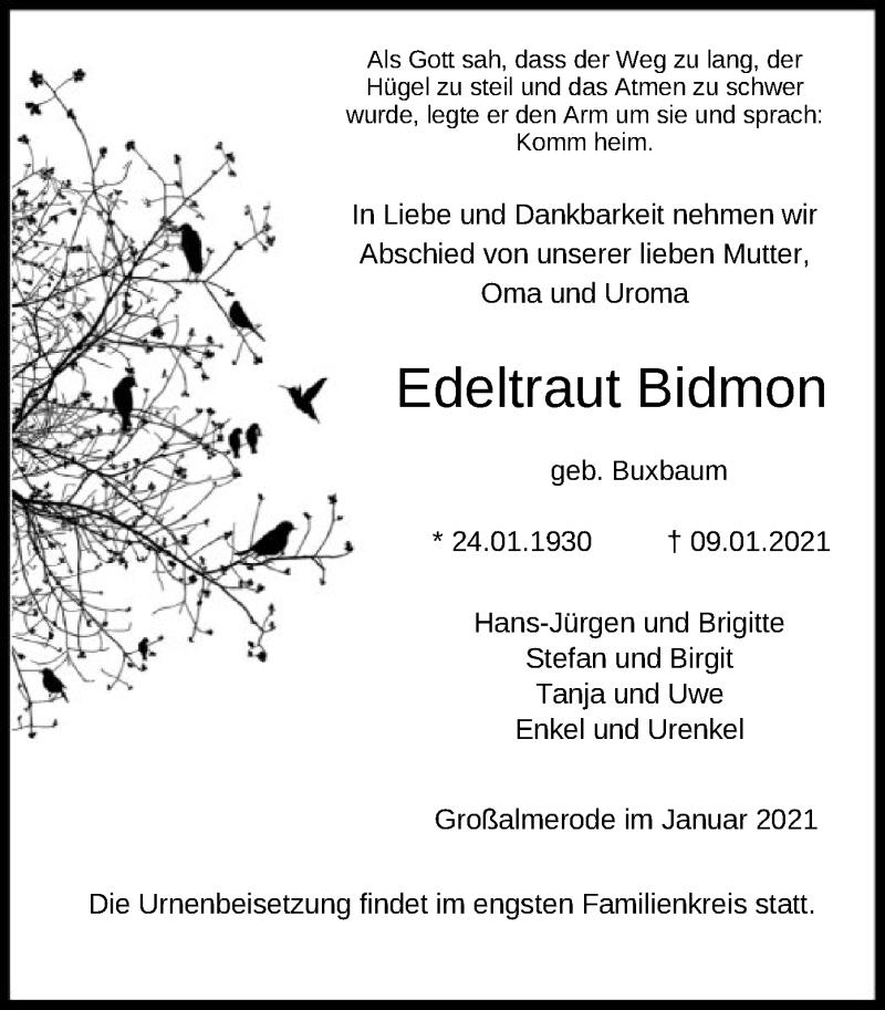 Traueranzeige für Edeltraut Bidmon vom 13.01.2021 aus HNA