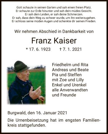 Traueranzeige von Franz Kaiser von HNA