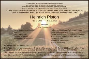 Traueranzeige von Heinrich Piston von HNA