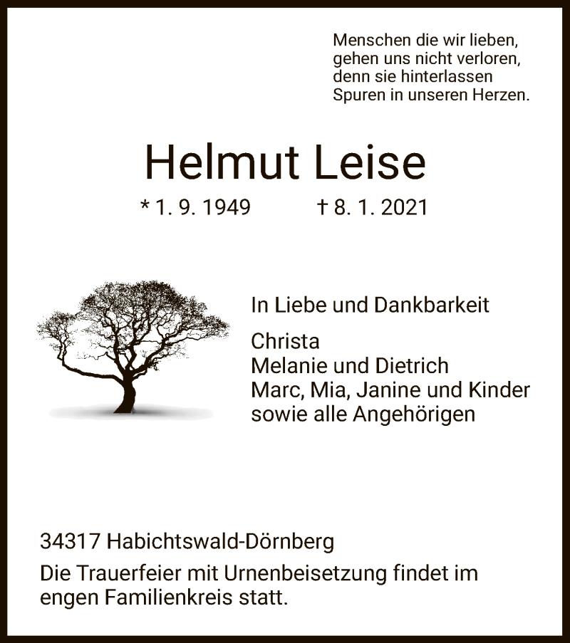 Traueranzeige für Helmut Leise vom 13.01.2021 aus HNA