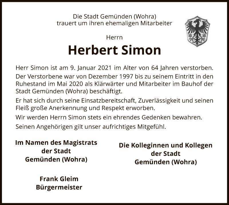 Traueranzeige für Herbert Simon vom 13.01.2021 aus HNA