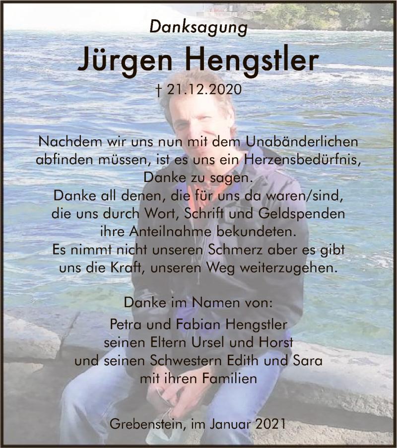 Traueranzeige für Jürgen Hengstler vom 30.01.2021 aus HNA