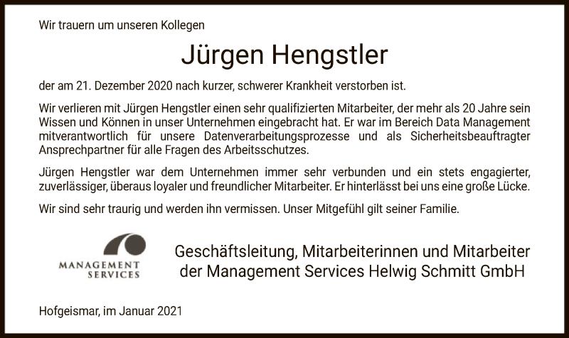 Traueranzeige für Jürgen Hengstler vom 09.01.2021 aus HNA