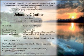 Traueranzeige von Johanna Günther von HNA