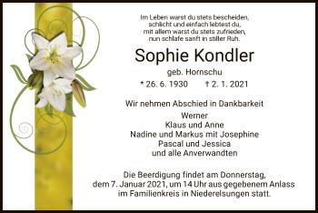 Traueranzeige von Sophie Kondler von HNA