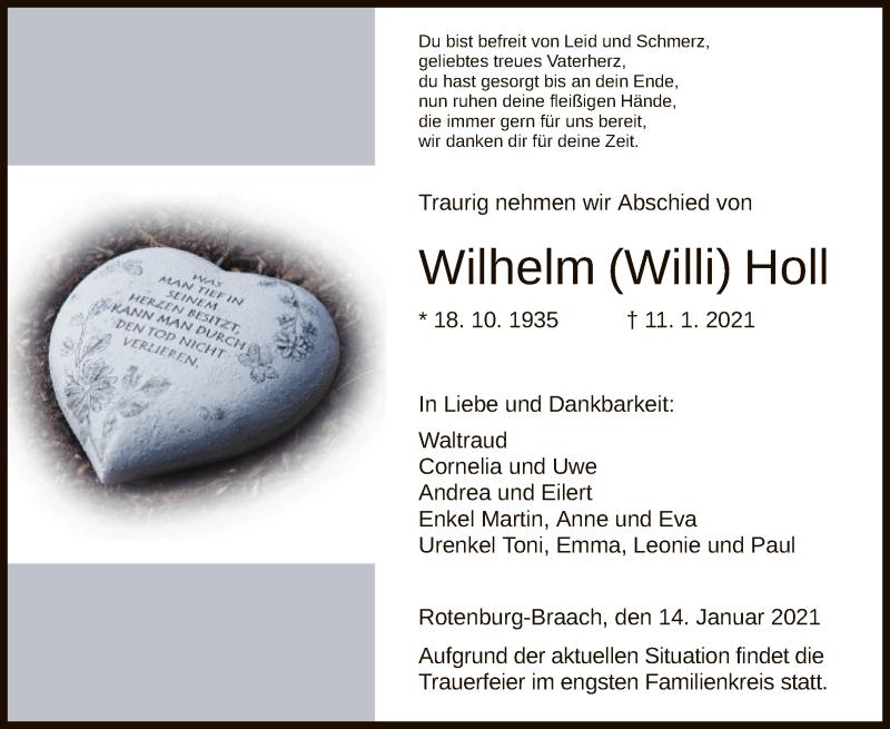 Traueranzeige für Wilhelm Holl vom 14.01.2021 aus HNA