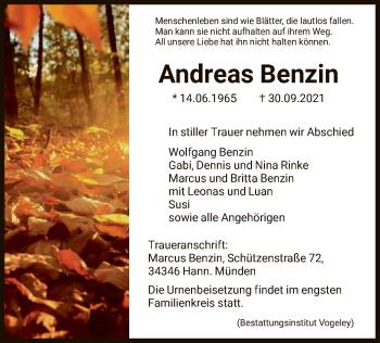 Traueranzeige von Andreas Benzin von HNA
