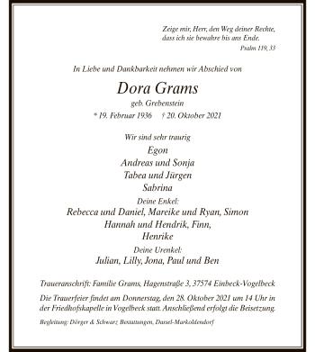 Traueranzeige von Dora Grams von HNA