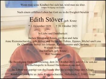Traueranzeige von Edith Stöver von HNA