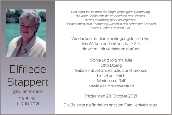 Traueranzeige von Elfriede Stappert von HNA