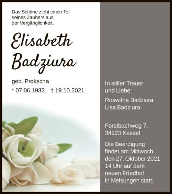 Traueranzeige von Elisabeth Badziura von HNA
