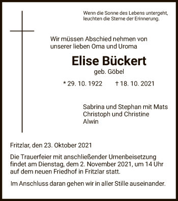 Traueranzeige von Elise Bückert von HNA