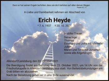 Traueranzeige von Erich Heyde von HNA