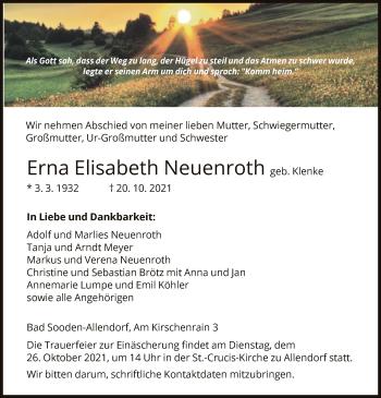 Traueranzeige von Erna Elisabeth Neuenroth von HNA