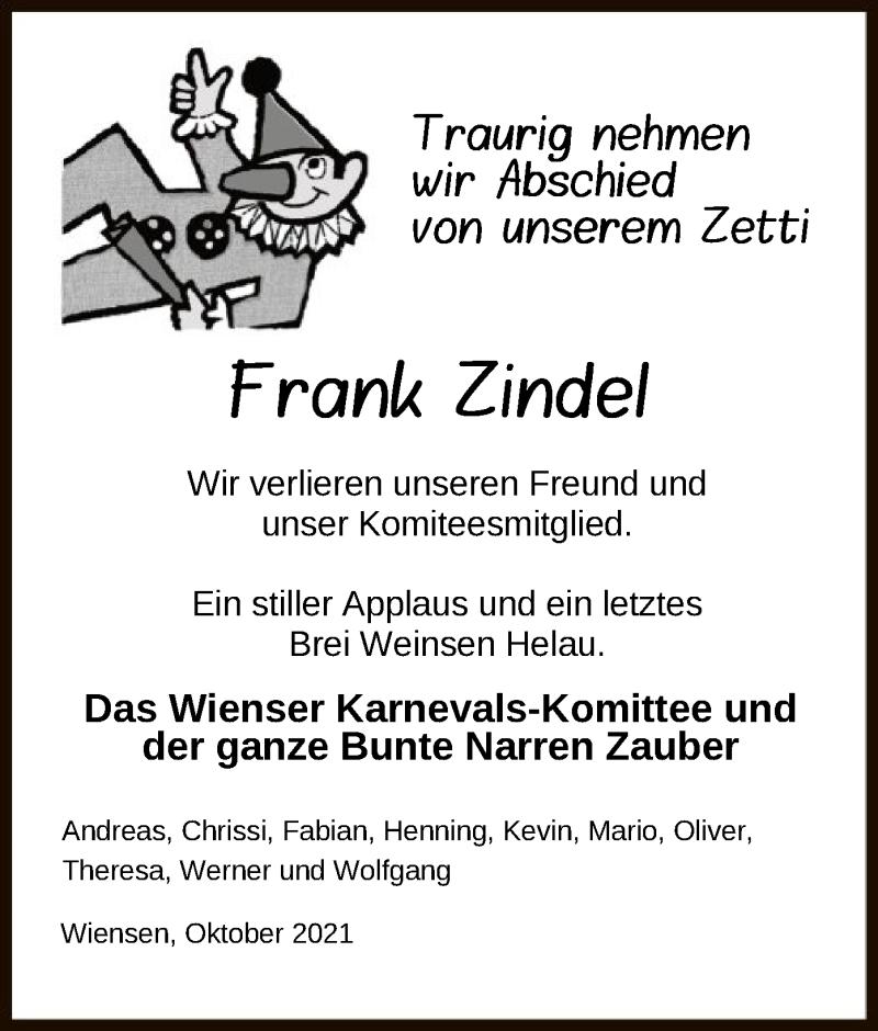 Traueranzeige für Frank Zindel vom 14.10.2021 aus HNA