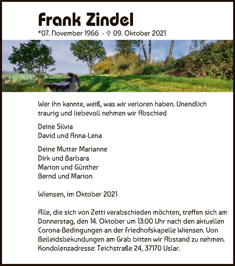 Traueranzeige für Frank Zindel vom 12.10.2021 aus HNA