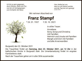 Traueranzeige von Franz Stampf von HNA