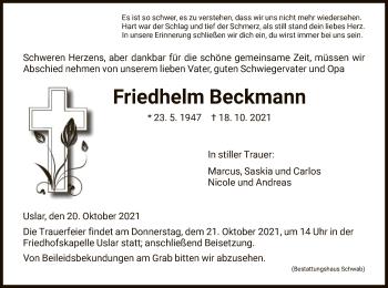 Traueranzeige von Friedhelm Beckmann von HNA